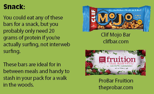 Snack:You could eat any of these bars for a snack, but you probably only need 20 grams of protein if you're actually surfing, not interweb surfing. These bars are ideal for in between meals and handy to stash in your pack for a walk in the woods.